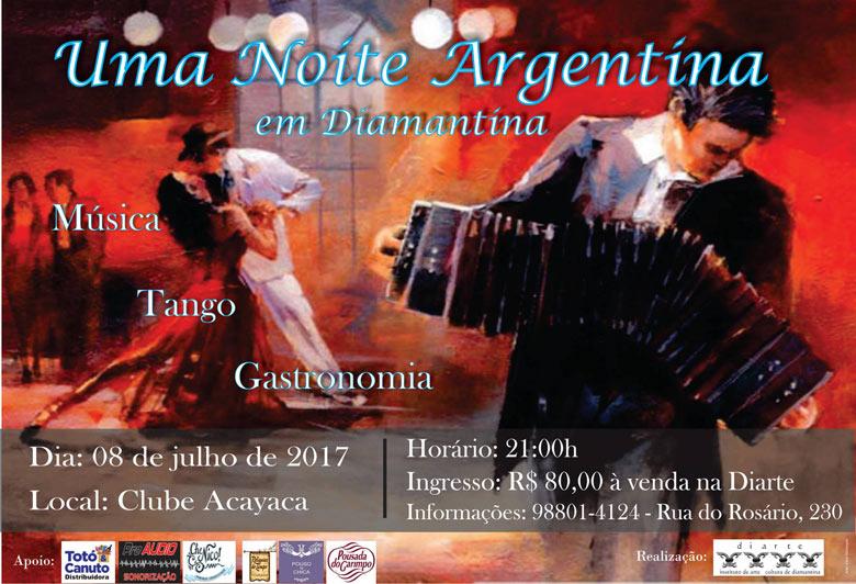 Convite Uma Noite argentina em Diamantina