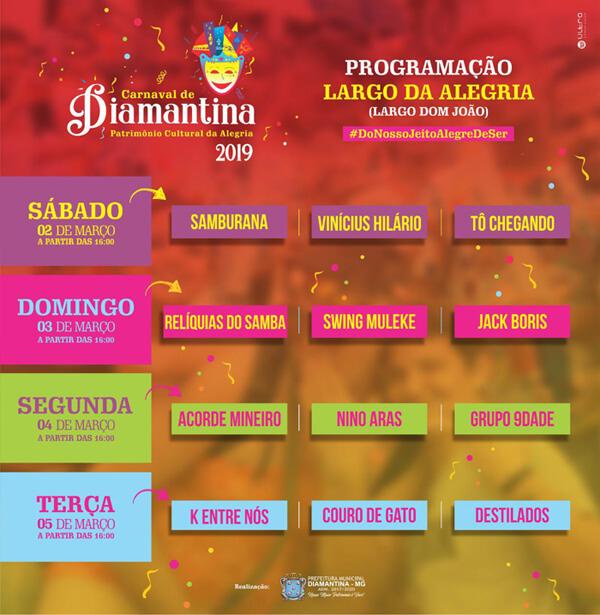 Programação Carnaval Diamantina 2019